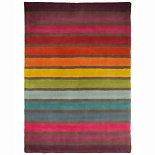Colourful Striped Print High Quality Carpet Rug – 100% Wool – Multi Coloured