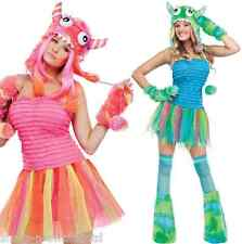 Ladies Sexy 4 Piece Green Pink Halloween Monster Rave Fancy Dress Costume Outfit