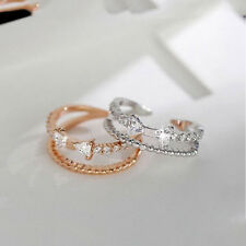 Fashion Silver Bowknot Plated Rhinestone Adjustable Accessories Jewelry Ring