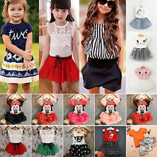 2Pcs Kids Baby Girls T-shirt Top + Skirt Shorts Dress Party Outfits Clothes Sets