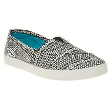 New Womens Toms Black Avalon Textile Shoes Canvas Slip On