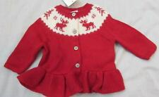 RALPH LAUREN baby girls red reindeer peplum button cardigan sweater NEW $65