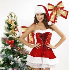 Ladies Miss Sexy Santa Strapless Velvet Mrs Christmas Fancy Dress Costume Outfit