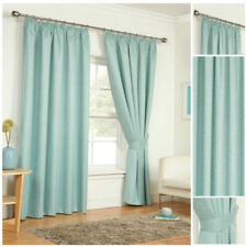 Curtains Duck Egg Blue Ready Made Tape Top Pencil Pleat Light Reducing Thermal