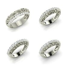Cubic Zirconia 925 Sterling silver Vintage Look Wedding Anniversary Band Ring