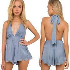 Women Jumpsuit V Neck Halter Backless Sleeveless Playsuit Casual Rompers X6S8