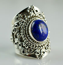Lapis Lazuli 925 Solid Sterling Silver Handmade Ring Size 3 to 14 (US)