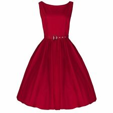 ROCKABILLY RED COTTON VINTAGE SWING PROM EVENING 1950s BRIDESMAID DRESS 8-22