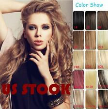 "7PC Set 15""-22"" Clip in Remy Human Hair Extensions Any Black Blonde Brown USA"