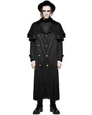 Punk Rave Mens Trench Coat Long Jacket Black Steampunk Gothic Vintage Military
