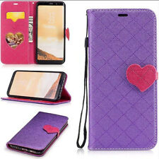 Purple Grid Pattern Heart-Shaped Hasp Wallet PU Leather Cover Case For Phones