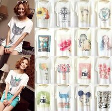 New Women Loose Cotton Batwing Sleeve Animal Print T-Shirt Casual Summer Tee Top