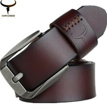 COWATHER Vintage style pin buckle cow genuine leather belts for men belt
