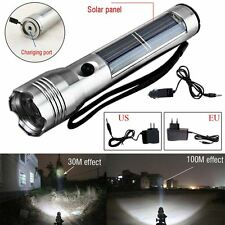 Portable Super Bright Solar Powered Rechargeable LED Flashlight Camping Torch