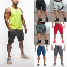 Men's Athletic Short Pants Gym Workout Elastic Shorts Outdoor Training Jogging