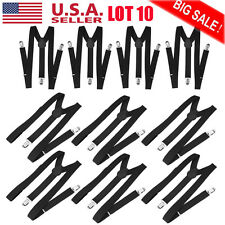 LOT 10 Adjustable Brace Clip-on Unisex Pants Elastic Adult Y-back Suspender-Y