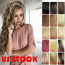 "Clip in Remy Human Hair Extensions Any Black Blonde Brown 7PC Set 15""-22"" USA"