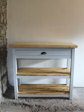 Brecon Butchers Block Kitchen Island Solid Wood With Shelves And Drawer