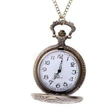 Antique Pendant Quartz Full Hunter Pocket Watch with Chain Vintage Bronze Gift