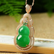 NEW Women pendant necklace Green Jade Bottle Gourd Lucky 925 silver FREE GIFT