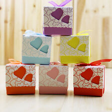 CHEAP~~100Pcs Love Heart Candy Boxes Wedding Favor Party Gift Boxes With Ribbons