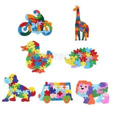 Wood Alphabet Puzzle Number Jigsaw Various Patterns Block Letter Educational Toy