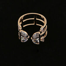 Gold Plated Stacking Delicate CZ Stone Claw Ring Adjustable 3 Rings Set Women