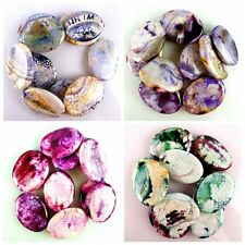 40*30*6mm Fire Agate Dragon Veins Agate Oval Mixed Color Loose Bead 15.5'' WTZ64