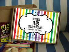 PERSONALISED RETRO SWEETS GIFT BOX BIRTHDAY BOY GIRL PARTY BAG FILLER FAVOUR - S