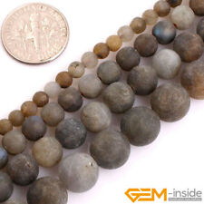 Natural Flash Blue Labradorite Gemstone Unpolished Frost Matte Round Beads 15""
