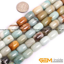 10X14mm Natural Multi-Color Amazonite Gemstone Drum Barrel Jewelry Making Beads