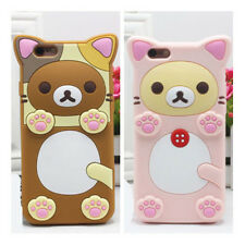 Cute Cartoon Relax Bear Cat Silicone Soft Case Cover For iPhone Samsung Galaxy