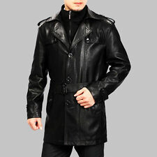 Brand New Men's Genuine Real Lambskin Soft Leather Trench Coat Long Jacket TC015