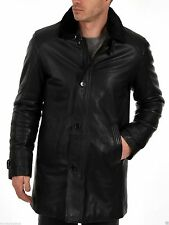 Brand New Men's Genuine Real Lambskin Soft Leather Trench Coat Long Jacket TC019