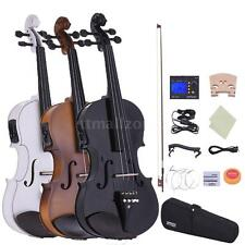 Electric Violin SolidWood 4/4 Full Size +Case Bow Tuner Strings Bridge Hot M9G1