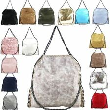 WOMENS NEW FAUX LEATHER CHAIN FRAME DETAIL TOTE SHOULDER BAG