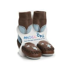 Blue Cowboy Mocc Ons Clever Little Slipper Socks Keep Toes Warm Baby Slipper