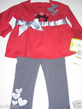 Disney Minnie & Mickey Mouse Girls 2pc Long Sleeve Top & Legging 18 Months $36