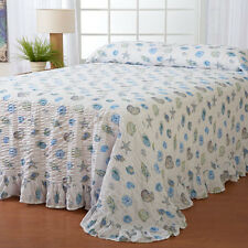 Twin Full Queen King Bed Ocean Blue Green Seashells Seersucker Bedspread Bedding