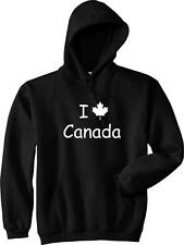 I LOVE CANADA Maple Leaf Funny Canadian College Hockey Vintage Hoodie NEW - Blac