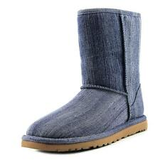 Ugg Australia Classic Short  Women  Round Toe Canvas Blue Winter Boot
