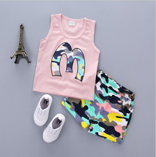 Summer 2pcs Kids baby boys short sleeve top T-shirt+Shorts outfit 1-4Years