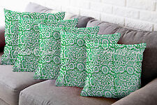 5 Pc Indian Block Printed Cotton Pillow Throw Floral Cushion Cover Ethnic Decor