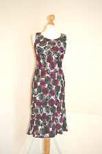 DESIGNER HOBBS COLOURFUL MEGENTA PINK,BLACK,WHITE LINEN SUMMER HOLIDAY DRESS UK8