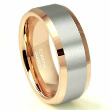 Men's 8MM Rose Gold Plated Tungsten Carbide Beveled Ring Wedding Band
