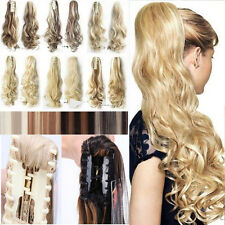 US Real Long Clip in Ponytail Hair Extensions Extension Straight Curly Wavy A93