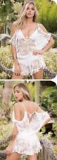 Mapale White Crochet Open Shoulder Lace Romper Beach Dress Cover-Up (Available i