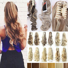 Quality Thick Claw Clip in on Ponytail Hair Extensions as Human Blonde Brown A43