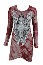 Vocal Women Tunic Dress Long Sleeves Tie Dye Crystal Cross Round Neck Raw Edge