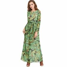 Women's Long Sleeve Dress Green Leaves Floral Print Bandage Chiffon Party Dress